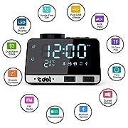 Amazon #DealOfTheDay: EDAL Bluetooth Alarm Clock Radio Mini Alarm Clocks for Bedrooms 4 inch Mirror Display FM Radio Clock Bluetooth Alarm Speaker with USB Charger Station (Black)