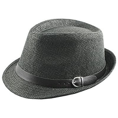Samtree-Unisex-Braid-Straw-Fedora-HatClassic-Short-Brim-Belt-Panama-Cap