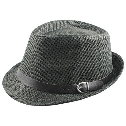 Samtree-Unisex-Braid-Straw-Fedora-HatClassic-Short-Brim-Belt-Panama-Cap