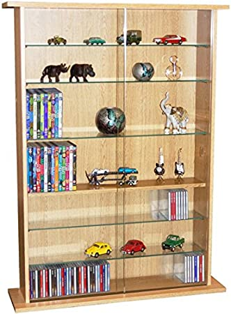 Glass Sliding Door And Glass Shelves Stores Up To 600 CDs Or 255 DVDs Or 140 Videos Beech Sturdy 8 Shelf Multimedia Storage Rack