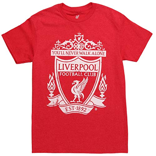 (Liverpool FC 1892 Crest Adult T-Shirt - Red Heather (XX-Large))