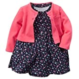 Carter's Baby Girls' Cardigan Dress Set (9 Months, Floral)