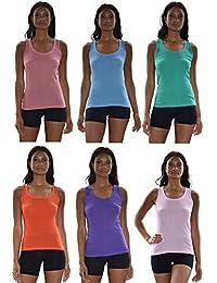 Tank Tops for Women, 6 Pack Cotton -Flex Tank Tops