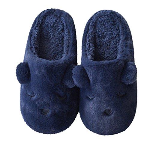 Cattior Heren Fleece Winter Warme Hond Slippers Slaapkamer Pantoffels Marine Blauw