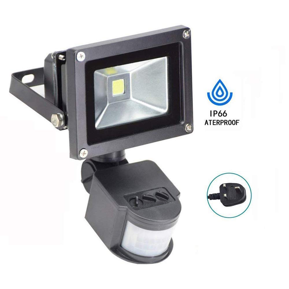 30W LED PIR Floodlight Garden(6000K, White Light), Waterproof Outdoor Security Lights with Motion Sensor for Car Park, Hotel, Forecourt, Garage, Yard, Entryways, Pathway.(UK 3-Plug) W-LITE