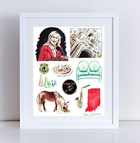 Parks and Recreation Print of Original Watercolor TV Show Leslie Knope Ron Swanson Pawnee City Hall Mouserat Lil Sebastian Rec Watercolor Art Canvas Art Print Unframed