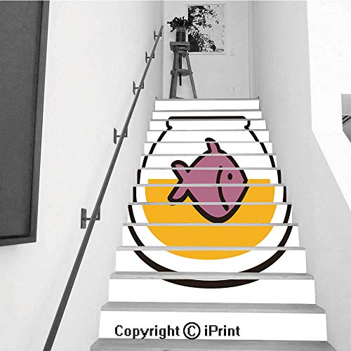 Stair Stickers Wall Stickers,13 PCS Self-Adhesive,Stair Riser Decal for Living Room, Hall, Kids Room,Fish in Aquarium Vector Illustration