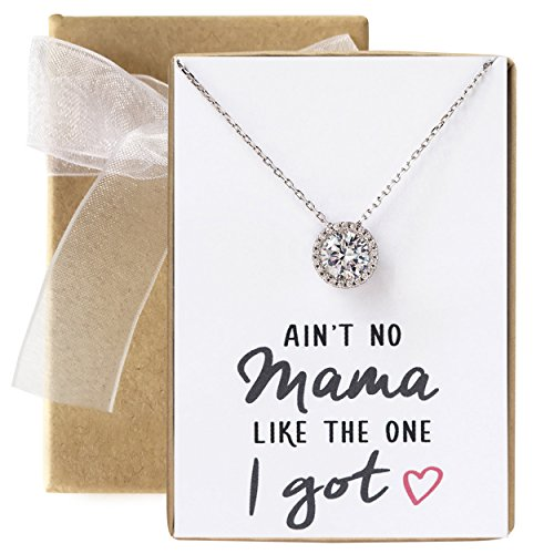 A+O Mom Gift, Fun Gift for Mother - Solitaire Halo Necklace in Silver