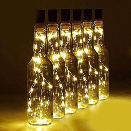 Wine Bottle Light with Cork, 6 Pack Battery Operated Cork Lights for Wine Bottles Cork String Lights Fits All Bottle Shape, 20 LED Warm White Fairy Lights for DIY, Party, Decor, Halloween,Wedding