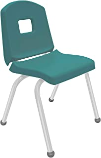 "product image for Creative Colors 1-Pack 16"" Kids Preschool Stackable Split Bucket Chair in Teal with Platinum Silver Frame and Ball Glide"