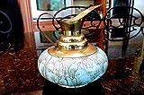 delft pitcher - Vintage Delft Holland painted light Blue Marbled Pitcher Brass Spout Handle 4