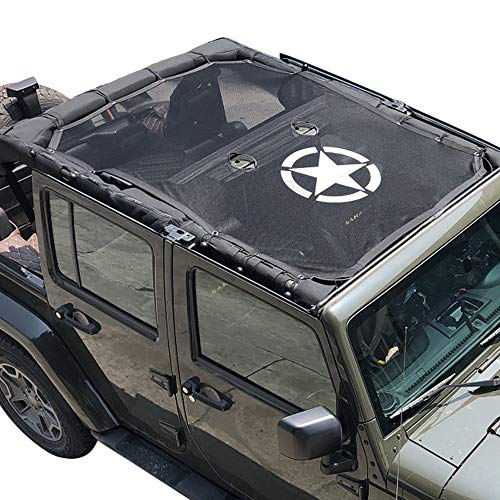 Jeep Wrangler JK Bikini Mesh Top SunShade Cover with Army star and For Jeep JK JKU 4-Door (2007-2017) (2dr Front Reinforcement)