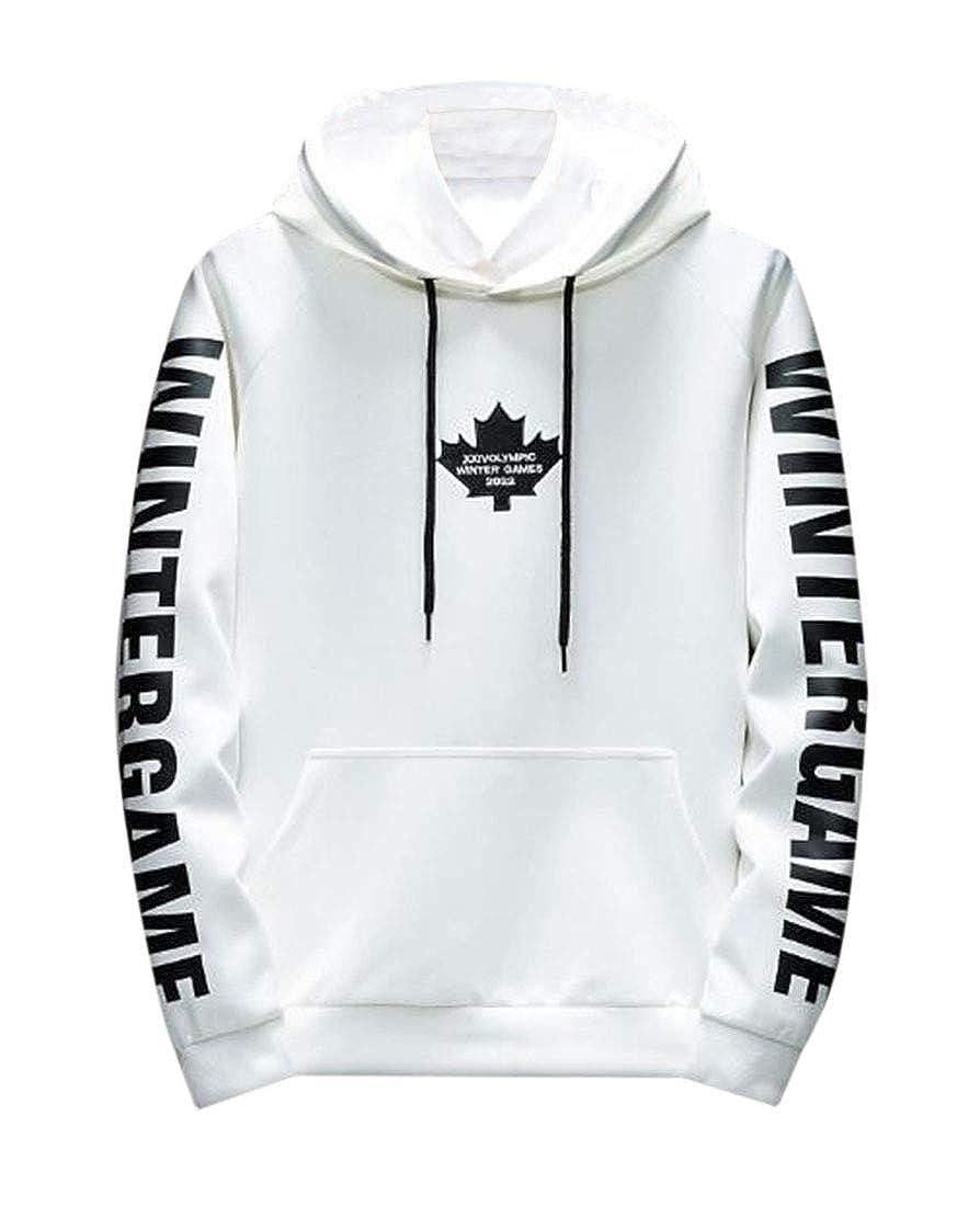 CRYYU Men Pullover Printed Casual Hooded Loose Sweatshirts