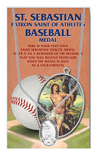 St Sebastian Baseball Medal with 24 Inch Chain Oval Pewter (Oval Medal 24 Inch Chain)