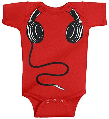 Threadrock Baby Boys' Headphones Infant Bodysuit 24 Months Red -
