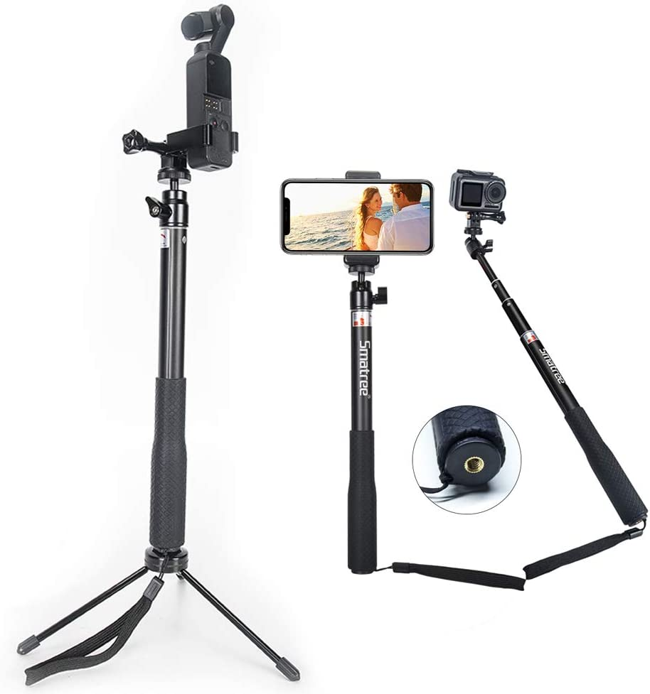 Black Zhaowei Travel Multi-Function One Key Revolve Selfie Stick 360/° Front and Rear Steering Rod for DJI OSMO Action