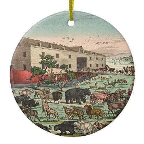 Arthuryerkes Christmas Hanging Ornament Vintage Noahs Ark Animals Illustration 12 Ceramic Ornament Circle 3 inch (Hanging Ark Noahs)