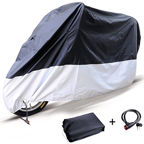 Motorcycle Cover With Lock - 210D Oxford Durable Motorbike Cover Waterproof Outdoor Heavy Duty Sun Protection All Season Fit Up to 116