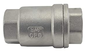 """Duda Energy VCV-WOG1000-F075 Vertical Check Valve, 304 Stainless Steel, 3/4"""" NPT Spring Loaded in-line Low Cracking Pressure.75"""""""