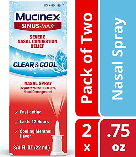 Mucinex Sinus-Max Severe Nasal Congestion Relief Clear & Cool Nasal Decongestant Spray- Fast Acting Relief For Sinus Pressure, With Cooling Menthol & Oxymetazoline, 0.75 oz. (Packaging May Vary)