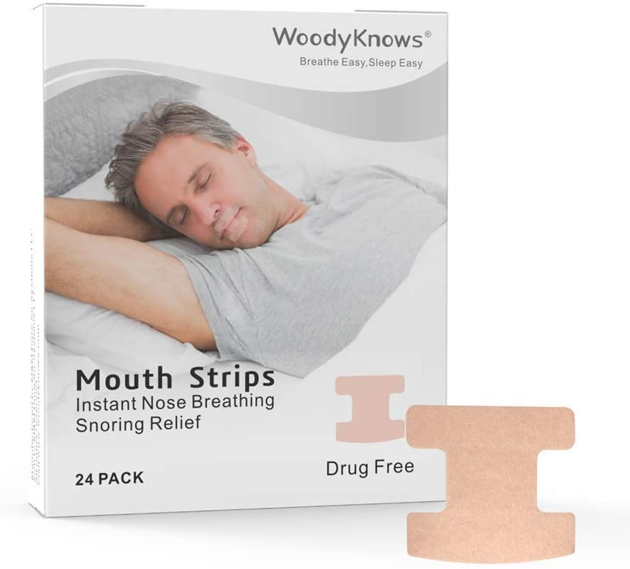 WoodyKnows Mouth Tape, Anti Snoring Mouth Strips for deep Sleep, Develop The Habit of Nasal Breathing, Maintain Natural Face Shape, 24 Pack