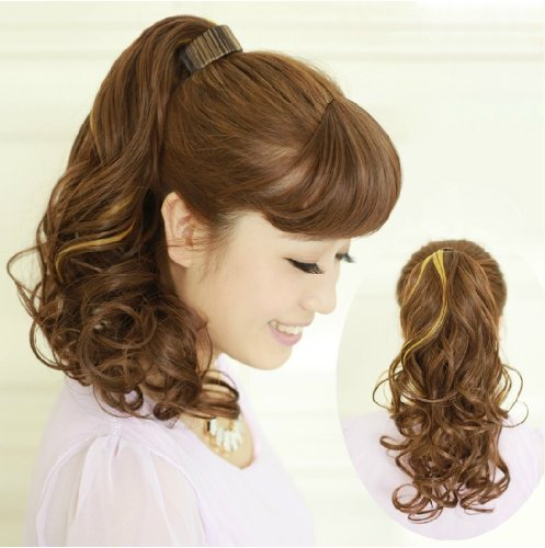 X&Y ANGEL New Fashion Two Tone Curly Highlights Snap Hook Ponytail Hair Extension Hairpiece H012 (black to (Two Tone Drawstring)