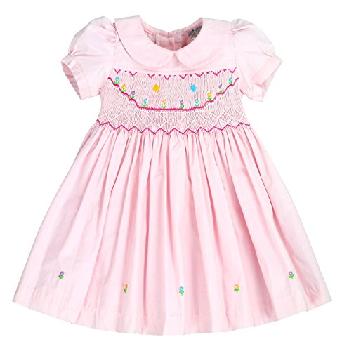 - sissymini - Infants and Toddlers Classic Hand Smocked & Embroidered Dress | Lil Sunshine in Heavenly Pink 24M
