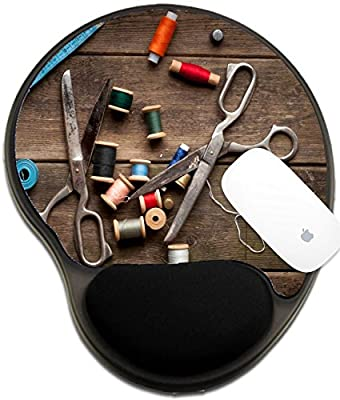 Luxlady Mousepad wrist protected Mouse Pads/Mat with wrist support design IMAGE ID 31404577 Vintage Background with sewing tools and colored tape Sewing kit Scissors bobbins with thread a