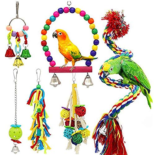 bromrefulgenc Parrot Chewing Toy,Foraging Hanging Toy,6Pcs Cockatiel Parrot Finch Birds Wooden Swing Chewing Hanging Bell ChweingToys Gift Random Color