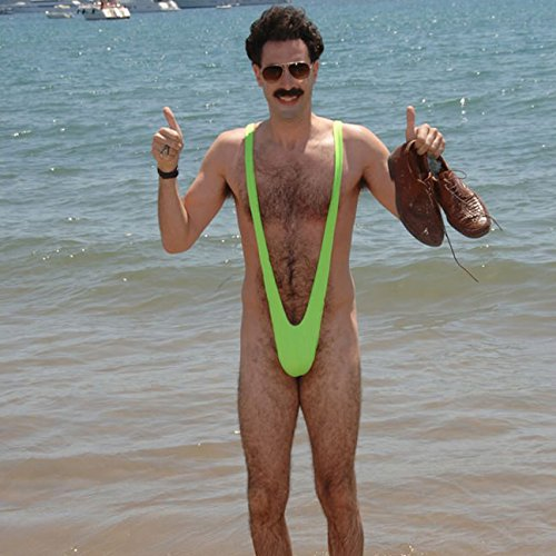 AveryDance Men's Lycra Mankini Swimsuit Thong Halloween Costume, Green