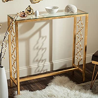 Safavieh Home Collection Jovanna Gold Console Table - This console table will add a fresh look to any room Crafted of iron, with a glass top Perfect for a living room, family room, den, library, or study - living-room-furniture, living-room, console-tables - 51FqYLW%2BgDL. SS400  -