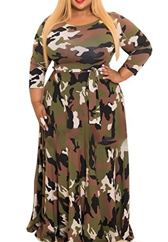 WANEE Women's Plus Size Printed Camouflage Long Sleeve Maxi Dress (XXX-L) ()