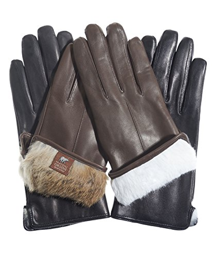 Fratelli Orsini Everyday Women's Our Bestselling Italian Rabbit Fur Gloves Size 7 Color Black/Natural Fur