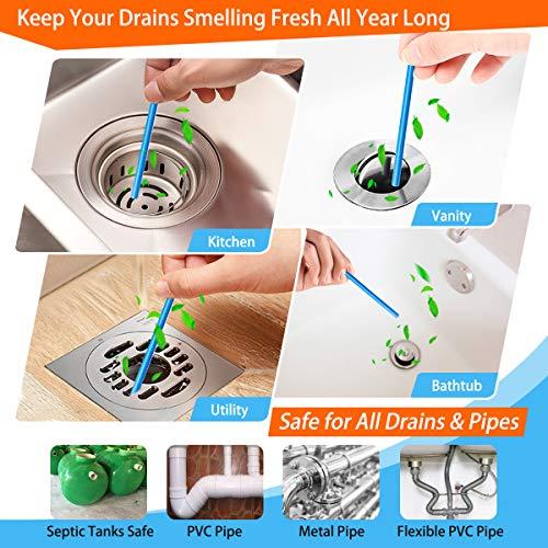 Drain Sticks Drain Stix DrainStix Drain Cleaner Deodorizer Sticks Flexible Non-Fragile for Preventing Clogs Eliminating Smelly Odor Enzyme Kitchen Bathroom Sink Septic Tank Safe As Seen On TV
