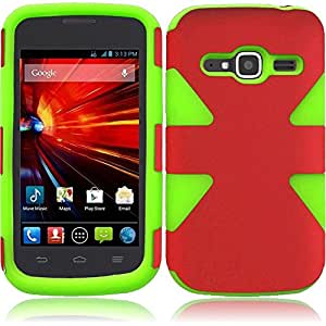 eFashion Stylish Twin Extra Protection BRAVO-Series Case Cover for ZTE Concord II Z730 GreenRedColor also included Elegant Fashion Gift Bag