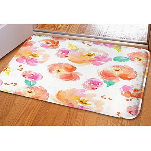 Door Mat Indoor Area Rugs Living Room Carpets Home Decor Rug Bedroom Floor Mats,Cute Watercolor Floral Pattern Pink