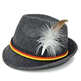 Melesh Adult Felt German Alpine Bavarian Oktoberfest Hat Cap (M) Gray