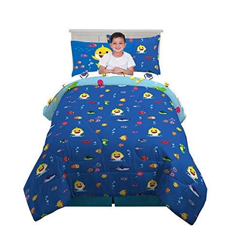 Franco Kids Bedding Super Soft Comforter and Sheet Set with Bonus Sham, 5 Piece Twin Size, Baby Shark 2