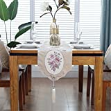 JYQ Velvet Embroidered Floral Table Runners with Tassels (12.5 inch by 78 inch, Floral)
