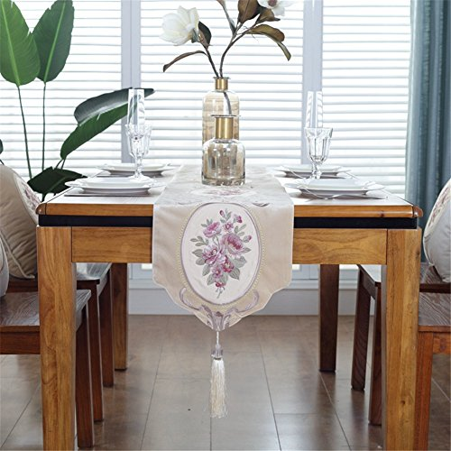 JYQ Velvet Embroidered Floral Table Runners with Tassels (12.5 inch by 78 inch, Floral) by JYQ
