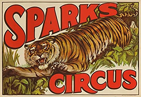 Sparks Circus (tiger) Vintage Poster USA (12x18 Collectible Art Print, Wall Decor Travel Poster) - Sparks Circus