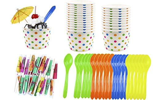 Ice Cream Sundae Kit - 8 Ounce Polka Dot Paper Cups - Plastic Spoons - Paper Umbrellas - Blue Orange Yellow Green - 24 Each