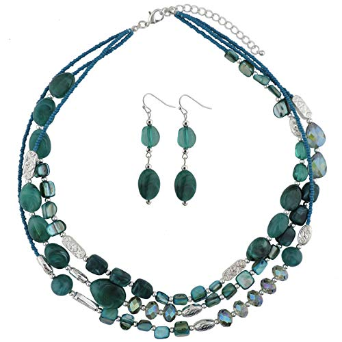 """COIRIS 3 Multi Layer Shell Glass Beaded Fashion Necklace for Women 21"""" (N0001-Teal+Silver)"""