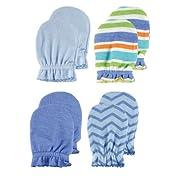 4-Pack Scratch Mittens, Blue Patterns
