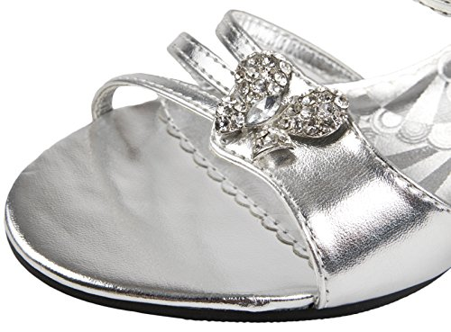 Girls Low Heel Party Shoes Diamante Wedding Bridesmaids Glitter Shoes Kids Size Silver Bow QyHDwATadE