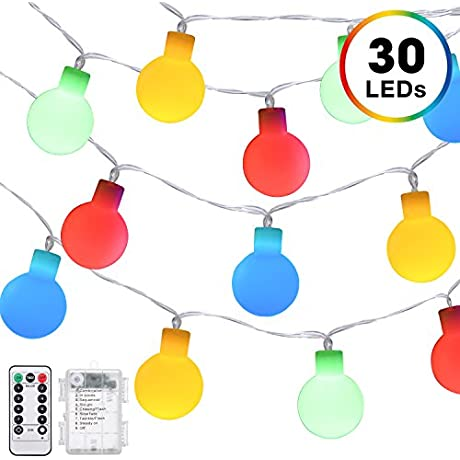 Globe String Lights DecorNova Battery Operated Fairy Ball String Lights With 3 AA Battery Case Remote Control 8 Modes For Christmas Tree Party Wedding Decorations 30 LEDs 13 Feet Multi Color