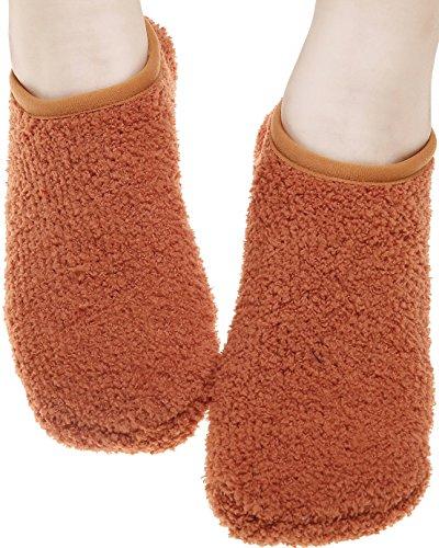 Moda Donna Fluffy Calzini Antiscivolo Morbido Calzino Pantofola Per Pavimenti In Tinta Unita Marrone Chiaro