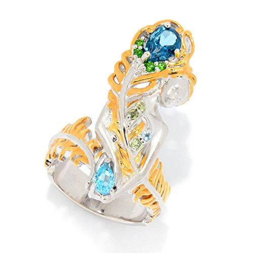 Michael Valitutti Palladium Silver Peridot, London Blue Topaz & Multi Gemstone Feather Ring by Michael Valitutti