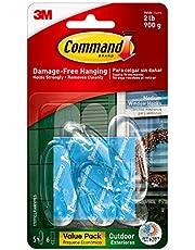 Command Outdoor Window Hooks Value Pack, Medium, Clear, 5-Hooks
