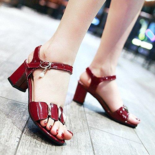 RAZAMAZA Mujer Moda Correa de tobillo Punta Abierta Sandalias Tacon Ancho Zapatos Rojo